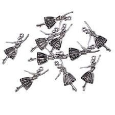 Elegant Dancing Girl Beads Tibetan Silver Charms Pendant Bracelet 10pcs 30*15mm