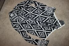 Knox Rose Women's XS Open Knit scarf tiered Cardigan Sweater black white