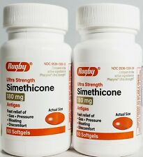Rugby Simethicone Gas Relief 180mg 60ct -2 Pack (Compare to Phazyme) Exp 08-2022