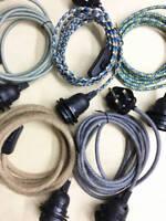 3M Fabric Flex Cable UK Plug In Pendant Lamp Light Set E27 Bulb Holder+ switch