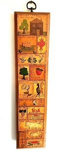 Vintage hand painted Wood Tole Folk Art Wall Hanging Home Farm Rooster Cow Bees
