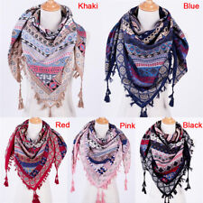 New Fashion Bohemian Woman Square Scarves Tassel Printed Women Wraps Scarf SEAU