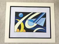 Original Zeitgenössisch Abstrakte Malerei Schwarz Blau Gelb Geometrische Kunst