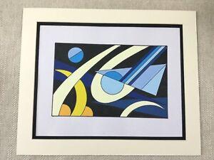 ORIGINAL CONTEMPORARY ABSTRACT PAINTING Black Blue Yellow Geometric Art