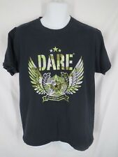Dare D.A.R.E. To Resist Drugs And Violence Mens Size L Large Black Camo Shirt