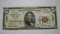$5 1929 Stuart Virginia VA National Currency Bank Note Bill! Ch. #11901 VF+