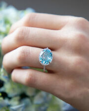 Fashion Women 925 Silver Oval Aquamarine Gemstone Rings Wedding Engagement 6-10