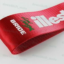 1X JDM Bride ILLEST Racing Drift Rally Car Tow Towing Strap Belt Hook - Red