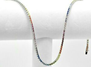 Sterling Silver MultiColor Rainbow Round Cut Sapphire Tennis Graduated Necklace
