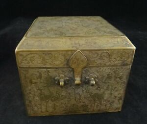 "Antique Chinese Engraved & Gilt Bronze Box. Floral motif. 19th c. 4 ¾"" sq."