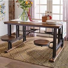 Small Space Cafeteria Dining Table Set w/4 Attached Swivel Stools, Heavy & Solid
