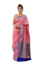Pink Banarasi Silk Indian Saree Blouse Party Wear Wedding Designer Bridal Sari
