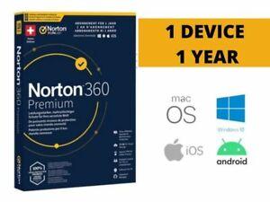 Registered Norton 360 Symantec Premium 1 Device 1 Year License Code Key