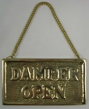 Hanging Fireplace Damper Open Closed Sign Solid Brass