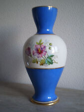 GRAND VASE BLEU PORCELAINE DE PARIS  dore XIX°s DECOR FLEUR ROSE VIOLETTE