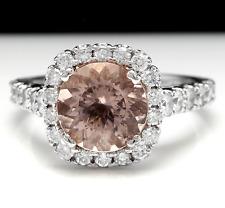 3.85 Carats Natural Morganite and Diamond 14K Solid White Gold Ring
