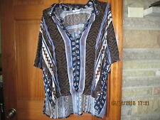 """Woman's Career Geometric Multi-Color Plus Rayon Shirt by Magic Size 44"""" Chest"""
