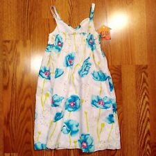 6x Size Girl's Dress Penelope Mack Sleeveless White with Blue Floral -411-