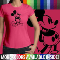 Retro Classic Vintage Mickey Mouse Walt Disney Girl Juniors Womens Tee T-Shirt