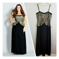 [ CITY CHIC ] Womens Sequin Peplum Maxi Dress | Size S or AU 16 / US 12
