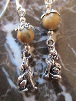 Pretty Howling Wolf & Natural Stones Artisan Earrings-Tribal Goddess Pagan