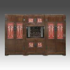 ANTIQUE CHINESE QING TRIPLE CABINET BAS RELIEF PANELS ELM WOOD CHINA 19TH C.