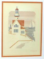 "Harry Wysocki Signed ""Lighthouse"" Framed Art Print Embossed Lithograph 14x17 COA"