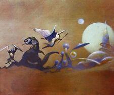Vintage Frank Frazetta Art Fantasy World Full Color Plate Dinosaur Angel Moons