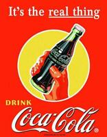 Coke Real Thing - Bottle Vintage Retro Tin Metal Sign 13 x 16in
