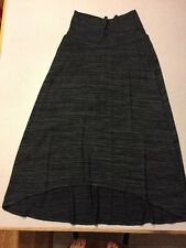 LIVI Active Black/Gray Foldover Waist Hi-Lo Knit Maxi Skirt Pocket 14/16 EUC Q21