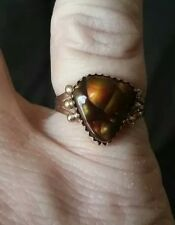 Navajo 14K Gold Chocolate Brown Fire Agate Ring Size 6 1/2 Signed W Denetdale