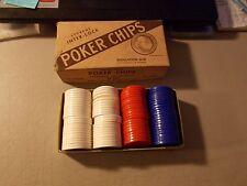 VINTAGE LOT OF 96 Styrene Inter-lock Poker Chips Regulation Size Original Box