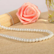 8mm White South Pearl GEMSTONES Round Beads Flower Clasp Necklace 18""