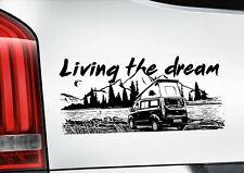 Living the Dream Window Sticker - Ford Transit Custom Camper Van Decal -V01B-BLK
