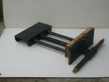 """antique FULTON tools woodworking vise under bench mount 2""""x10"""" jaw"""