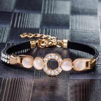 Fashion Women's 18K Gold Plated Rhinestone Chain Bangle Cuff Bracelet Jewelry