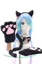 C-21 schwarz Katzen Pfoten Handschuhe Schwanz Halsband Ohren Maid Lolita Cosplay