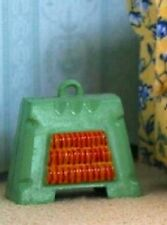 Non Working Green Electric Fire,  Dolls House Miniature, Fireplace 1.12 scale