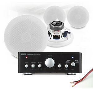 """4x 5.25"""" Ceiling Speaker System with Bluetooth Amplifier Home Audio Hi-Fi Music"""