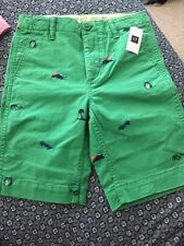 NWT Gap boys size 12 regular Green flat front shorts with embroidery