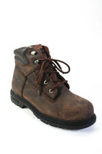 Wolverine Mens Leather Lace Up Steel Toe Work Boots Brown Size 10 Ll19Ll