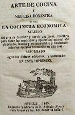 ANTIGUO LIBRO ARTE DE COCINA Y MEDICINA DOMESTICA 1865 SEVILLA  160x110mm