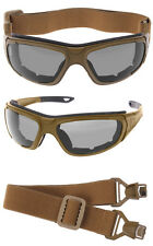 Coyote Tan Brown Interchangeable Convertible Airsoft Military Sunglasses Goggles