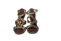 Gold Beaded Sandals Size 6.5 Ladies High Heels Shoes by George Party Shoes