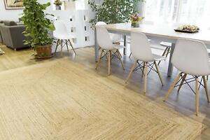 100% Jute Rectangle Large Scandi style Braided natural reversible rustic rugs