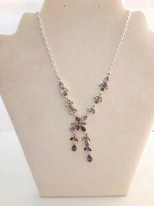 "Nicky Butler Sterling Silver Multi-gemstone Necklace, 16"" ,  24.4 Gms"