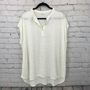 Eileen Fisher Top Womens 1x White 100% Linen Sleeveless Henley Tunic Blouse