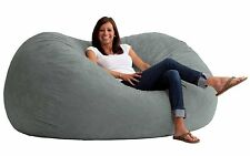 Large Soft Grey Bean Bag Beanbag Chair Huge 6' Adult Size Memory Foam All rooms