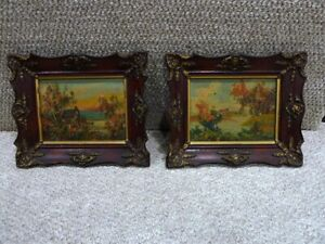 "PAIR OF OLD LANDSCAPE OIL PAINTING ON BOARD W/GOLD /WOOD FRAMES11.5"" x9.5"" #302"