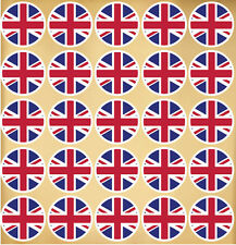 50 x UNION JACK UK CIRCLE FLAG Cycle Tag Car Stickers 22x22mm